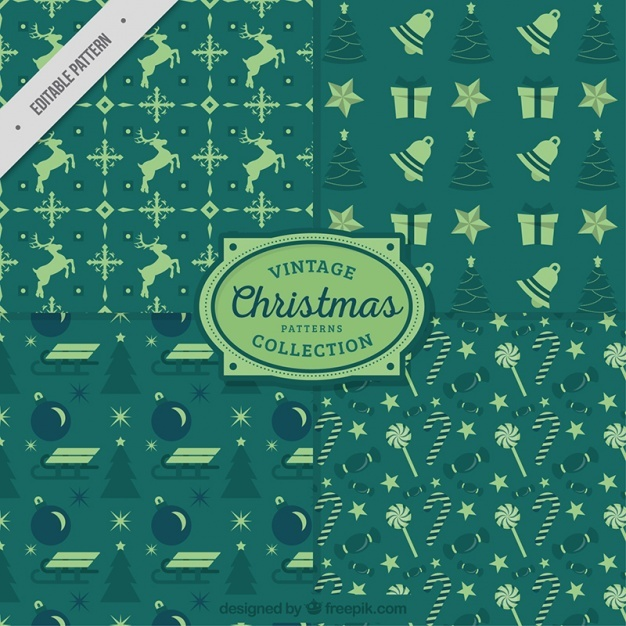 Christmas green vintage patterns