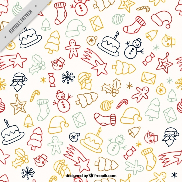 Cute pattern with christmas drawings