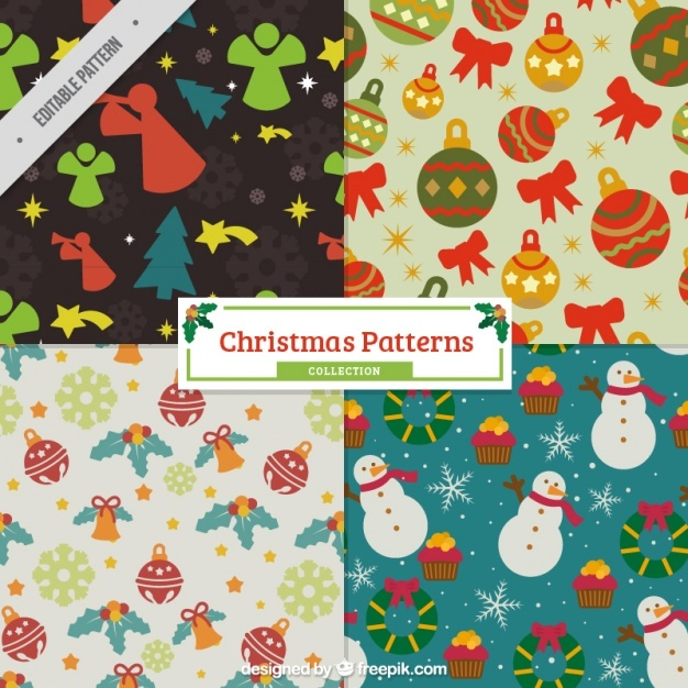Christmas vintage patterns with elements