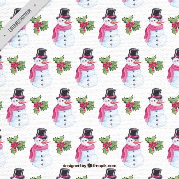 Watercolor snowman pattern