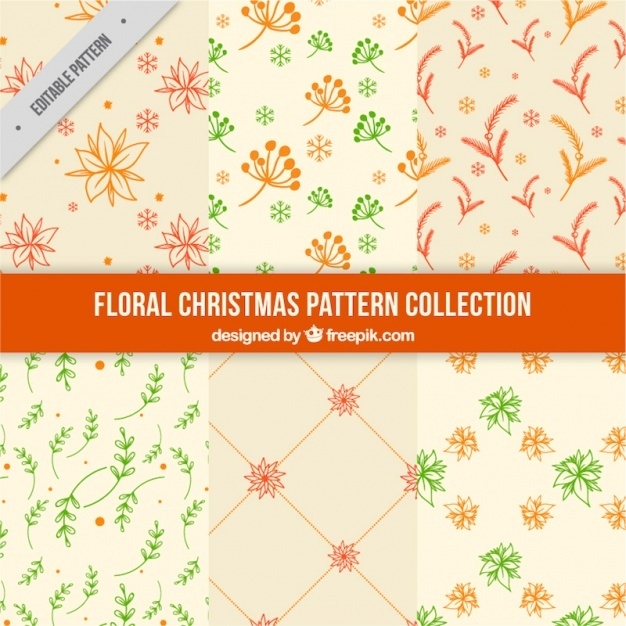 Collection of six great floral patterns for christmas