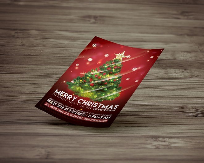 Free Christmas Party Flyer Template PSD Freebie