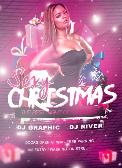 Free Sexy Christmas Free PSD PSD Flyer Template