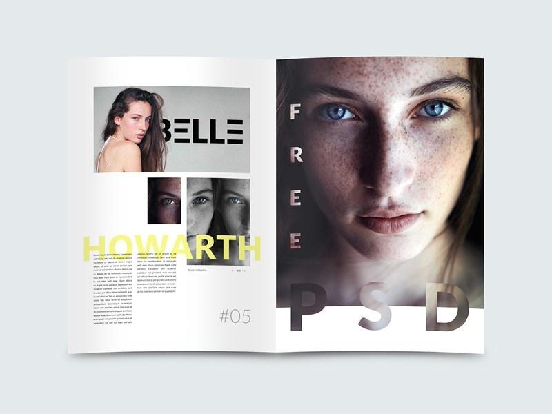 Photorealistic Magazine Design Mockup Free PSD