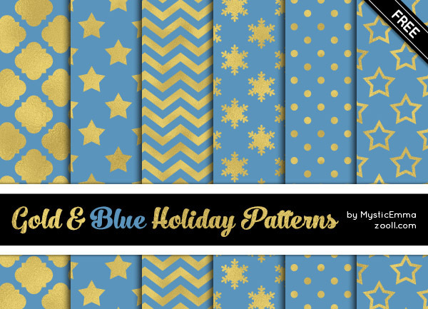 GOODIES: GOLD AND BLUE HOLIDAY PATTERNS