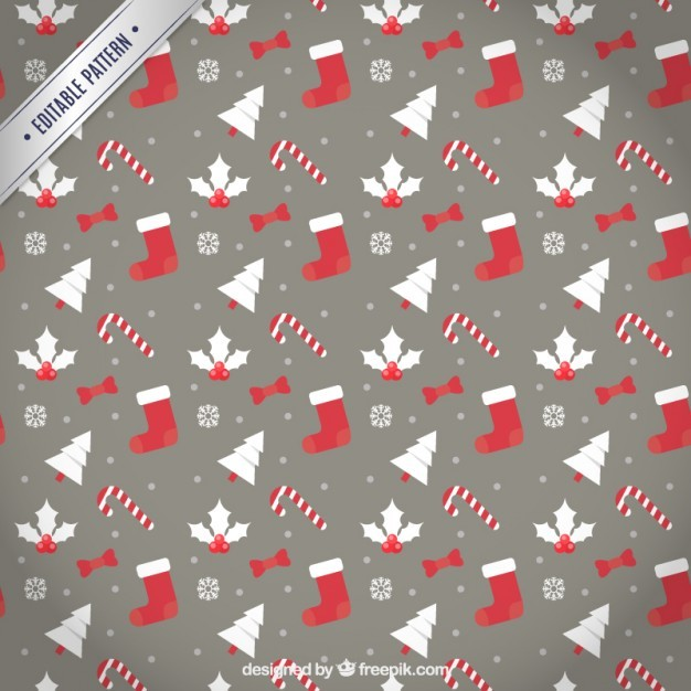 Christmas pattern in red and brown color