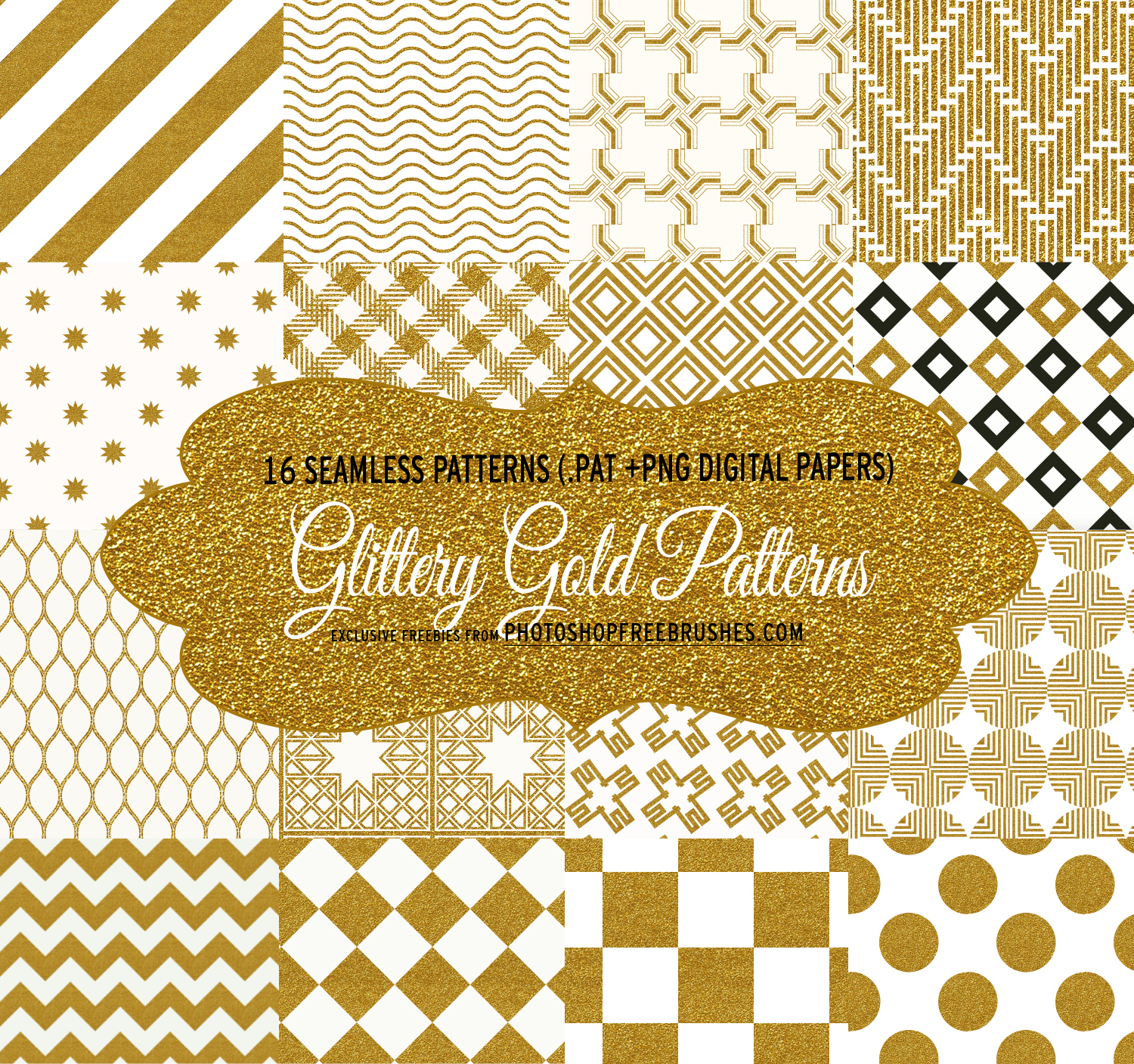 16 Glittery Gold Geometric Patterns and Backgrounds