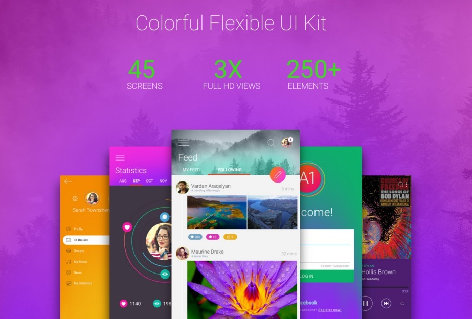 Colorful UI Kit PSD