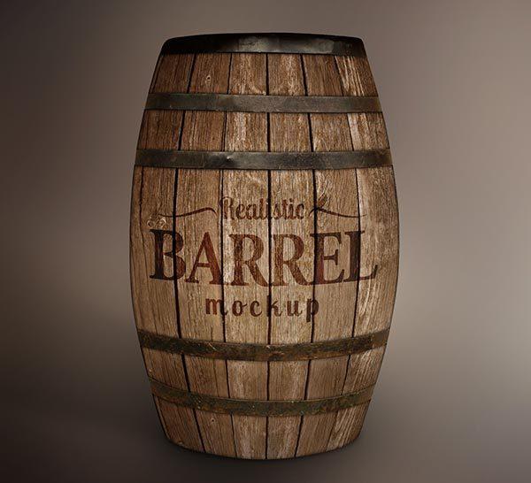 Free Wooden Barrel MockUp