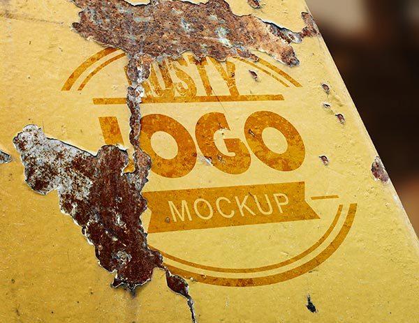 Rusty Metal Logo MockUp PSD