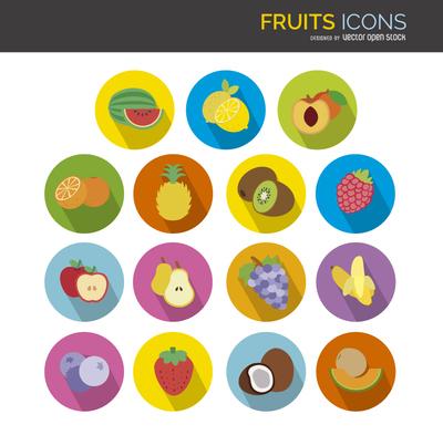 Flat fruit icons set