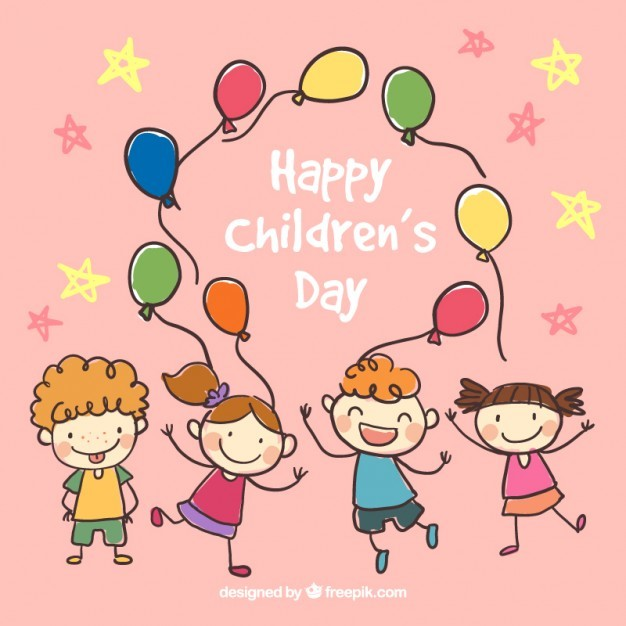 Hand drawn happy children's day illustration