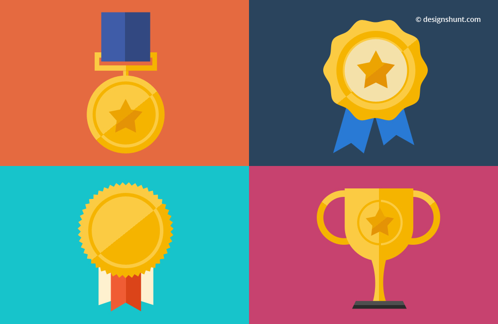 Award icons - Set of Medal, Prizes and Trophy Desi