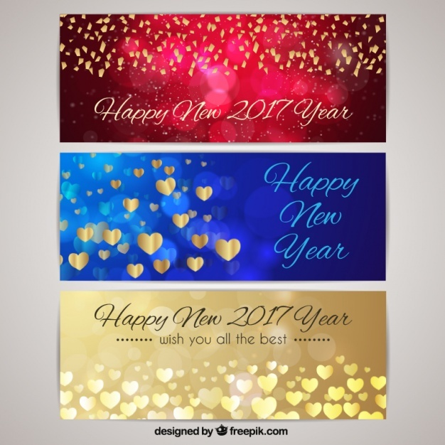 Happy new year with glittering banners