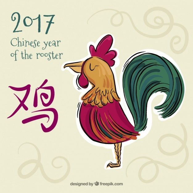 Hand-drawn background for chinese new year with colorful rooster