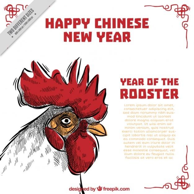 Hand-drawn chinese new year background