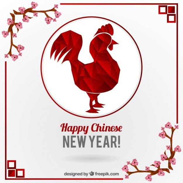 Polygonal rooster with floral decoration for chinese new year
