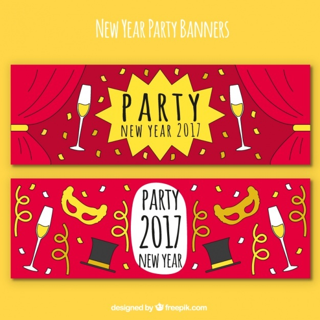 2 hand drawn banners for new year's party