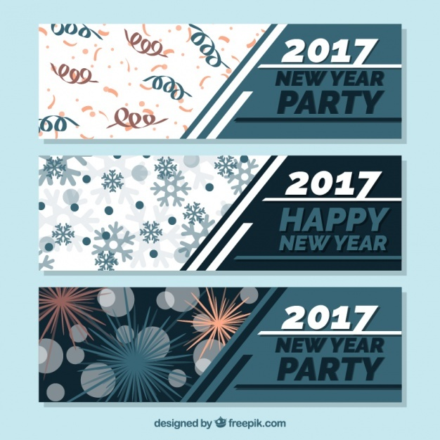 Pack of three banners for new year