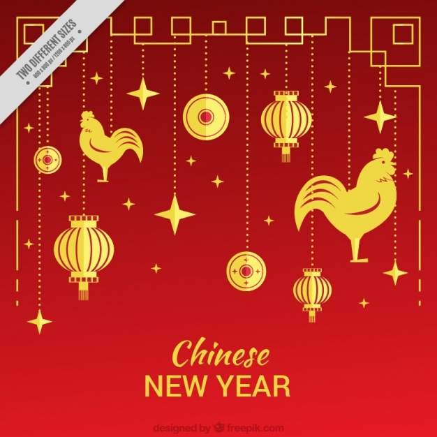 Red background with roosters and golden ornaments