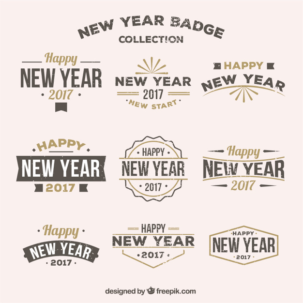 Collection of retro new year badges