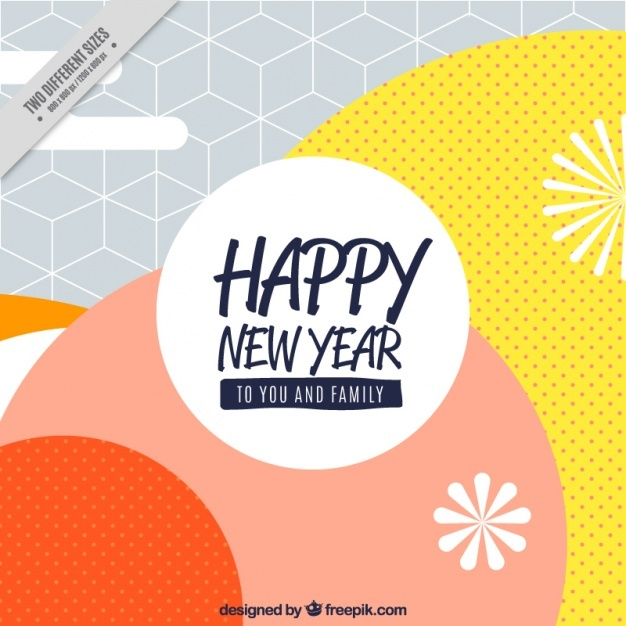 Abstract happy new year background with circles