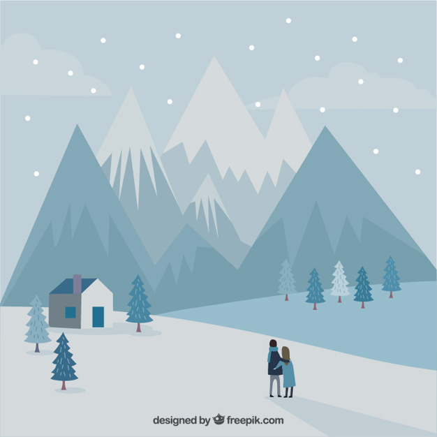 Mountain landscape background with snow and couple