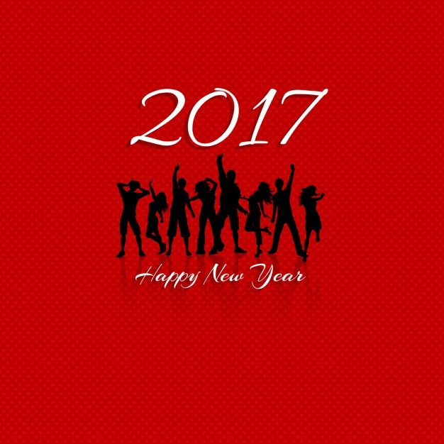 Red background with silhouettes for new year