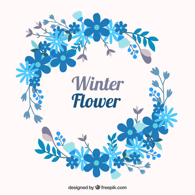 Winter floral wreath