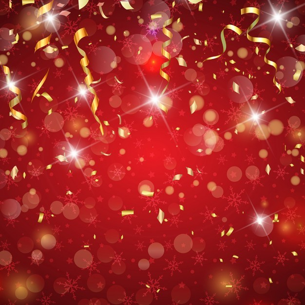 Red background with golden confetti