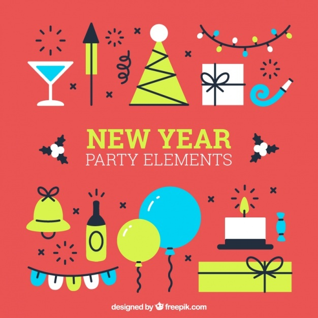 Set of new year party elements in flat design