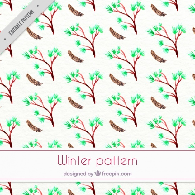 Watercolor winter pattern with trees