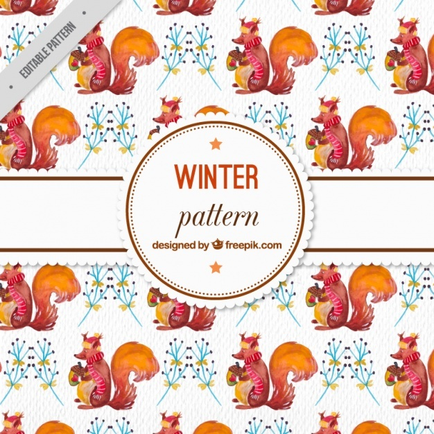 Watercolor winter pattern with squirrel