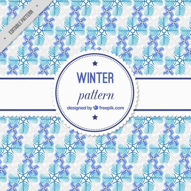 Blue watercolor winter pattern