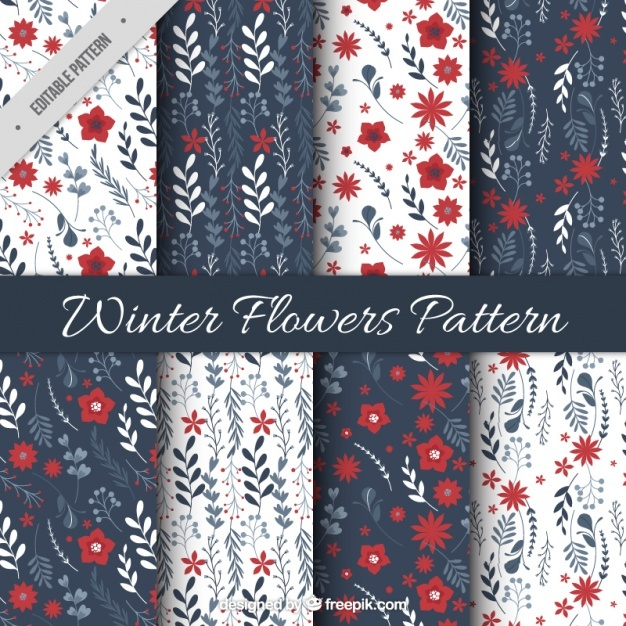 Patterns of ornamental winter flowers in vintage style