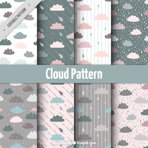 Pretty pastel colored clouds pattern set