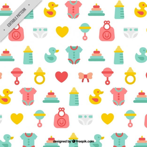 Colorful pattern with baby elements in flat design
