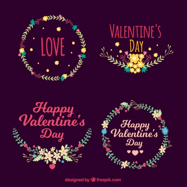 Assortment of decorative floral wreaths for valentine's day