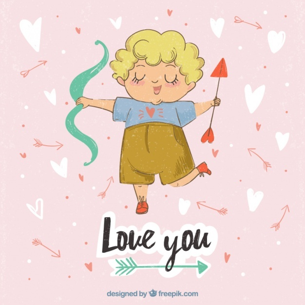 Happy cupid character background with arrow and bow