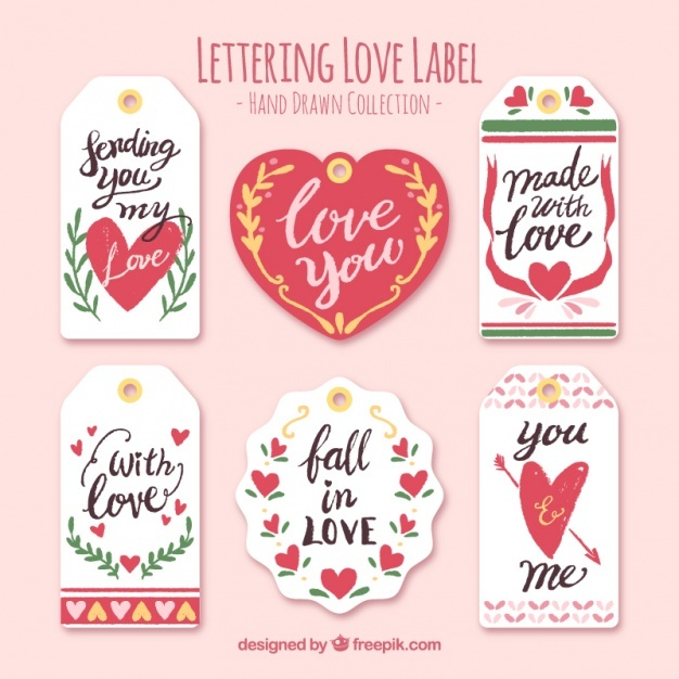 Hand drawn love labels