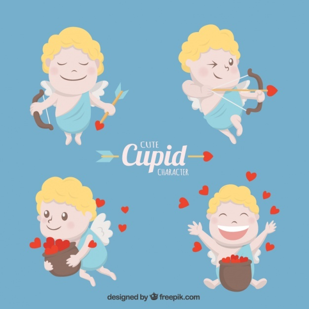 Fantastic collection of cute cupid with red hearts