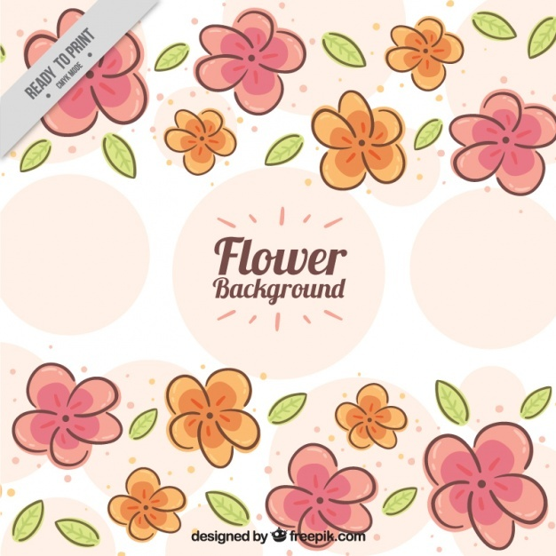 Hand-drawn background with flowers and circles