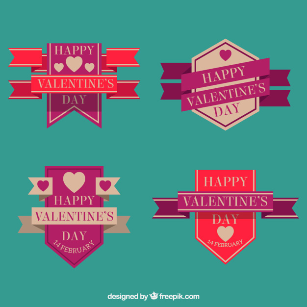 Geometric valentine's badges in flat design
