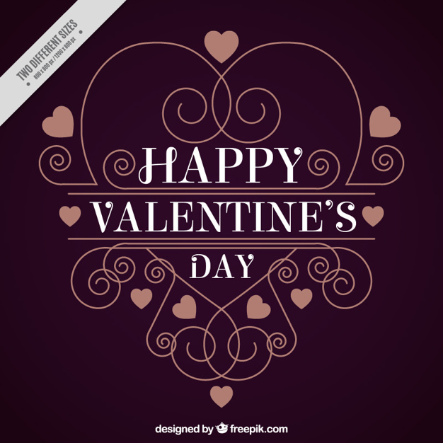Happy valentine's day background with ornamental decoration