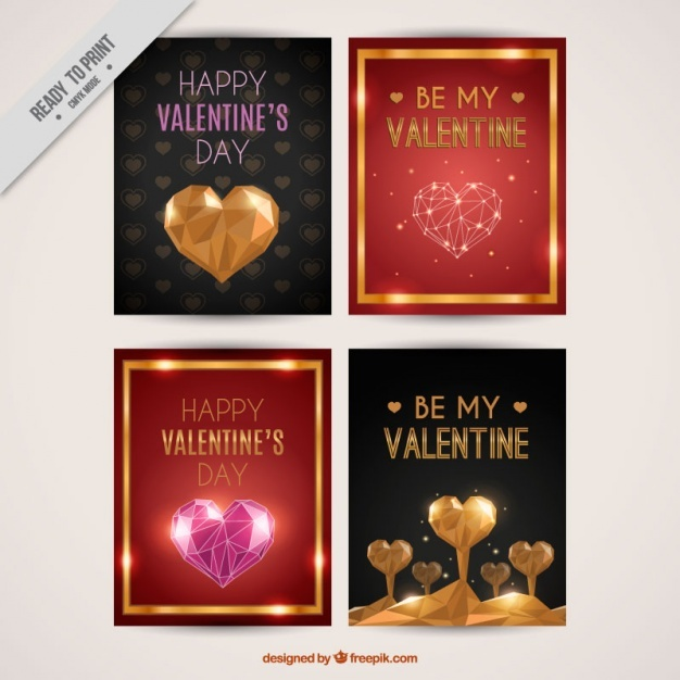 Greeting cards for valentine's day with golden details