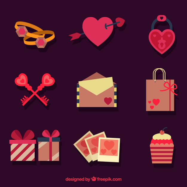 Valentine's day items in flat design