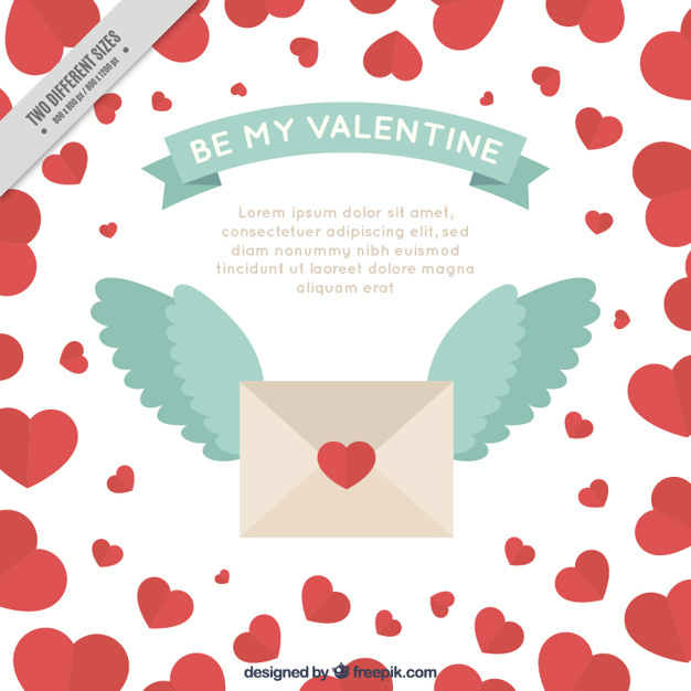 Valentine's background of envelope with wings