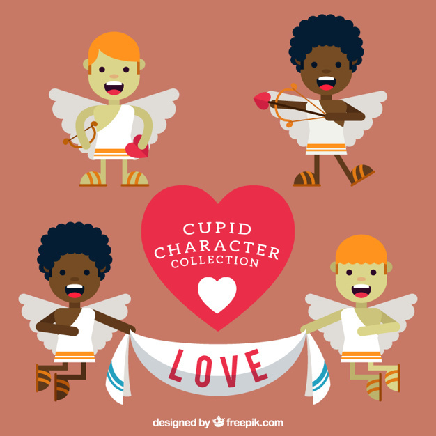 Variety of cute cupid characters in flat design