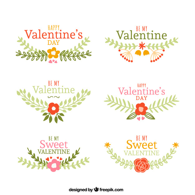 Hand-drawn decoration with floral elements for valentine's day