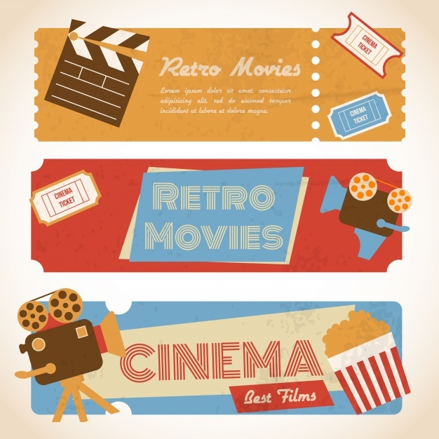 Three retro movie banners